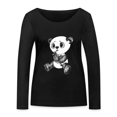 Panda bjørn hvid scribblesirii - Økologisk Stanley & Stella langærmet T-shirt til damer