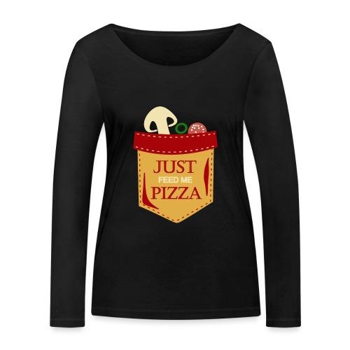 Bare mat meg pizza - Økologisk langermet T-skjorte for kvinner fra Stanley & Stella