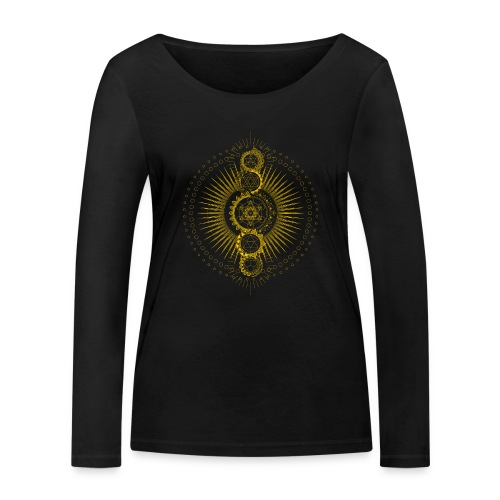 Sacred Geometry Metatron's Cube Gold Transcendence - Women's Organic Longsleeve Shirt by Stanley & Stella