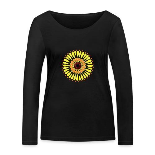 Yellow Sunflower Mandala - Women's Organic Longsleeve Shirt by Stanley & Stella