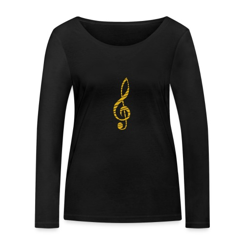 Goldenes Musik Schlüssel Symbol Chopped Up - Women's Organic Longsleeve Shirt by Stanley & Stella