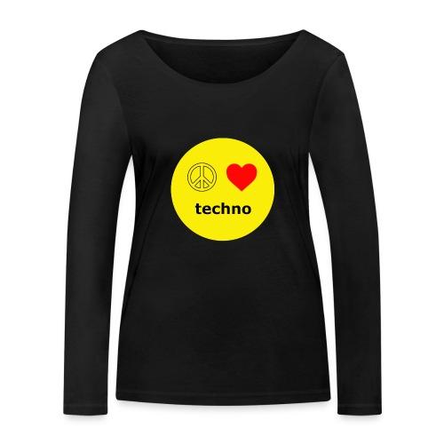 paz amor techno - Camiseta de manga larga ecológica mujer de Stanley & Stella