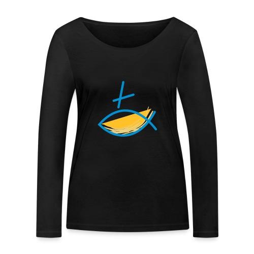Altkatholischer Logo Fisch Blau/Gelb - Frauen Bio-Langarmshirt von Stanley & Stella