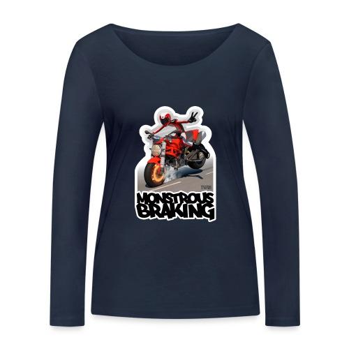 Ducati Monster, a motorcycle stoppie. - Camiseta de manga larga ecológica mujer de Stanley & Stella