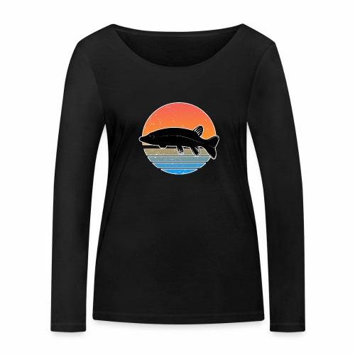 Retro Hecht Angeln Fisch Wurm Raubfisch Shirt - Frauen Bio-Langarmshirt von Stanley & Stella