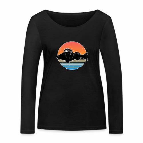 Retro Barsch Angeln Fisch Wurm Raubfisch Shirt - Frauen Bio-Langarmshirt von Stanley & Stella