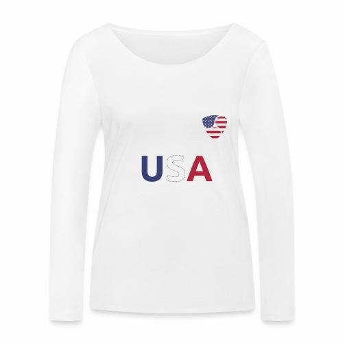 NEM USA white - Maglietta a manica lunga ecologica da donna di Stanley & Stella
