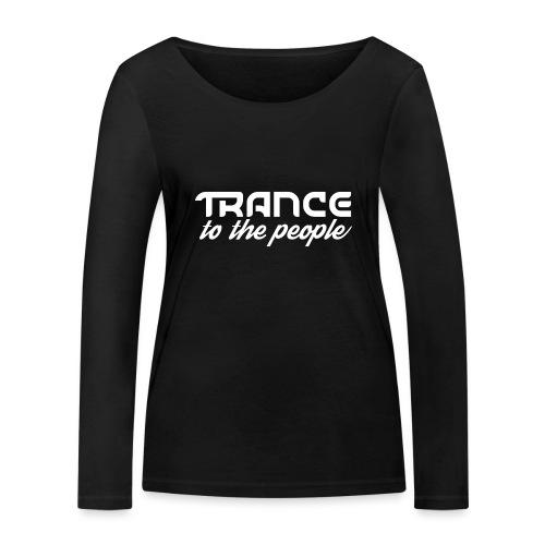 Trance to the People Hvidt Logo - Økologisk Stanley & Stella langærmet T-shirt til damer