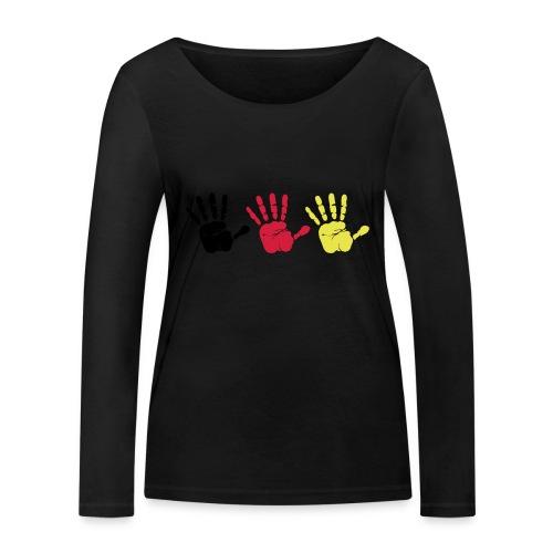 Handabdruck Trio - Frauen Bio-Langarmshirt von Stanley & Stella