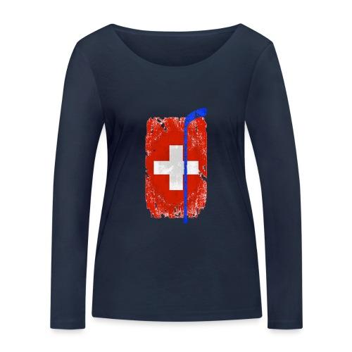 Schweizer Flagge Hockey - Frauen Bio-Langarmshirt von Stanley & Stella