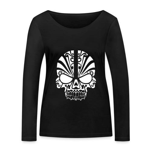 Tribal Skull white mit Logo - Frauen Bio-Langarmshirt von Stanley & Stella