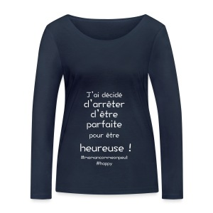 t-shirt_happy_white - T-shirt manches longues bio Stanley & Stella Femme