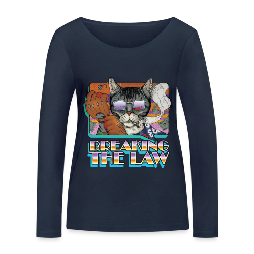 Crime Cat in Shades - Braking the Law - Ekologiczna koszulka damska z długim rękawem Stanley & Stella