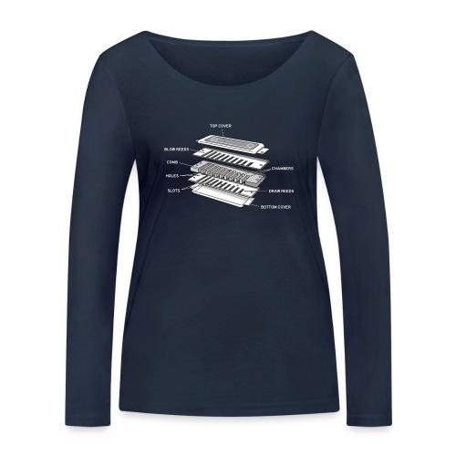 Exploded harmonica - white text - Women's Organic Longsleeve Shirt by Stanley & Stella