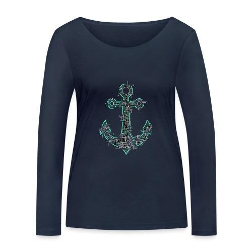 Cyber Anker Tshirt ✅ Elektro Anker Tshirt - Frauen Bio-Langarmshirt von Stanley & Stella