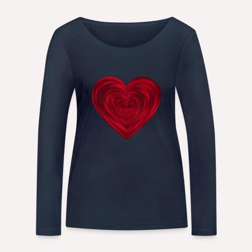 Love Heart Print T-shirt design - Women's Organic Longsleeve Shirt by Stanley & Stella