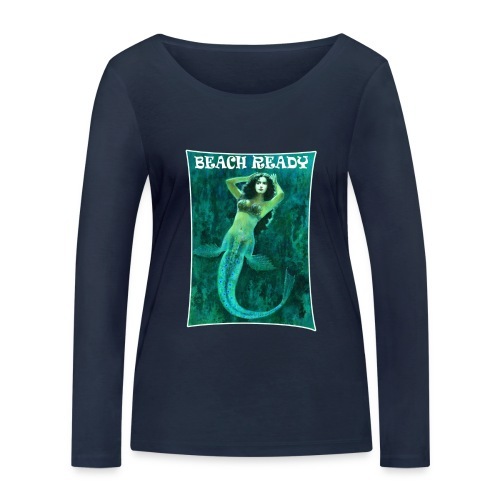 Vintage Pin-up Beach Ready Mermaid - Women's Organic Longsleeve Shirt by Stanley & Stella
