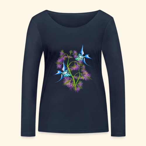 Tropical blue Fish Swimming around plants - Women's Organic Longsleeve Shirt by Stanley & Stella