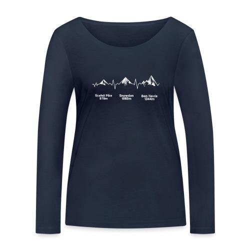ECG Thee Peaks Dark Background - Women's Organic Longsleeve Shirt by Stanley & Stella