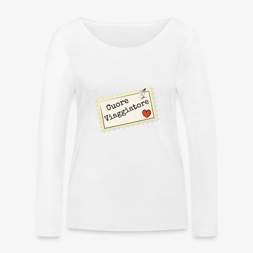 CUORE VIAGGIATORE Scritta con aeroplanino e cuore - Maglietta a manica lunga ecologica da donna di Stanley & Stella