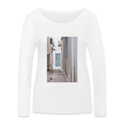 empty street in Mykonos - Ekologiczna koszulka damska z długim rękawem Stanley & Stella