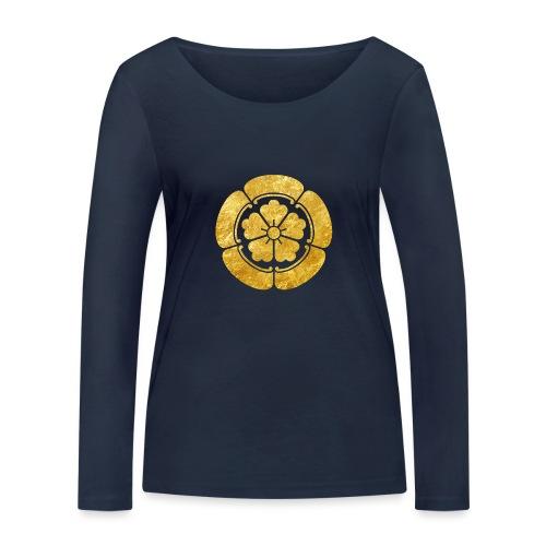 Oda Mon Japanese samurai clan faux gold on black - Women's Organic Longsleeve Shirt by Stanley & Stella