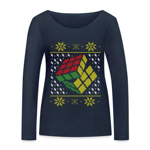 Rubik's Cube Ugly Christmas - Women's Organic Longsleeve Shirt by Stanley & Stella