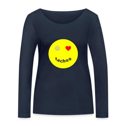 camiseta paz amor techno - Camiseta de manga larga ecológica mujer de Stanley & Stella