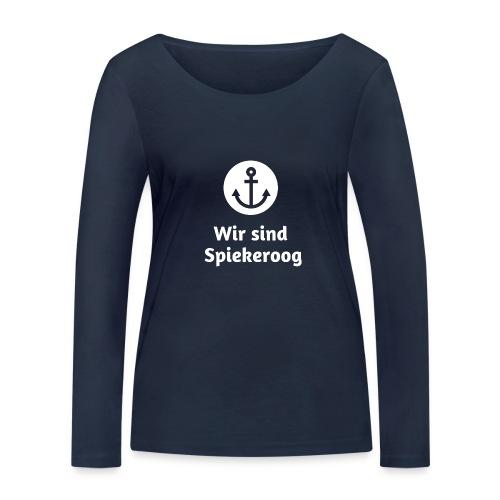 Wir sind Spiekeroog Logo weiss - Frauen Bio-Langarmshirt von Stanley & Stella