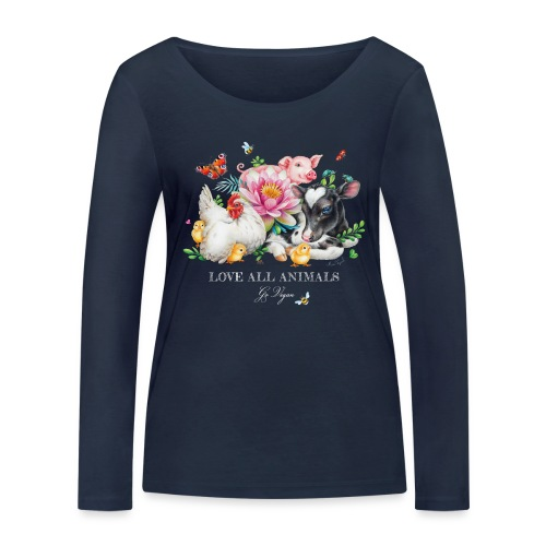 Love animals white text - Women's Organic Longsleeve Shirt by Stanley & Stella