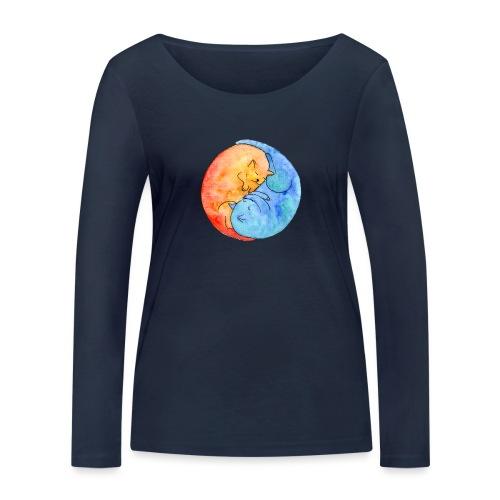 Katzenfreunde Yin Yang orange und blau - Frauen Bio-Langarmshirt von Stanley & Stella