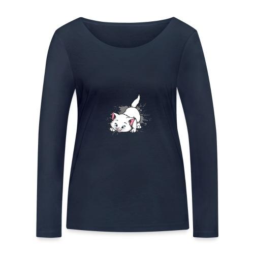 Katze Splash Pfützen Sprung - Frauen Bio-Langarmshirt von Stanley & Stella
