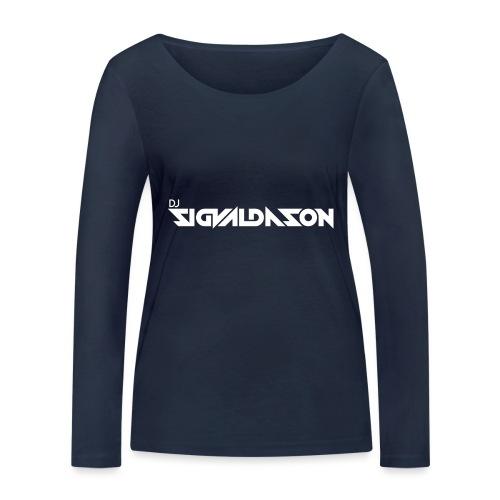 DJ logo hvid - Økologisk Stanley & Stella langærmet T-shirt til damer