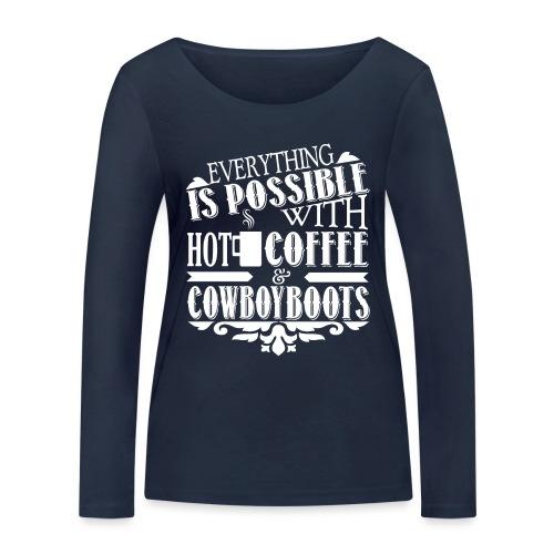 Kaffee & Cowboy Stiefel - Frauen Bio-Langarmshirt von Stanley & Stella