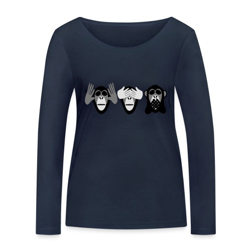 drei affen, nichts hoeren nichts sehen nichts - Frauen Bio-Langarmshirt von Stanley & Stella