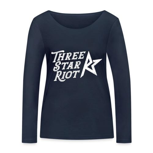 Three Star Riot logo vaalea - Stanley & Stellan naisten pitkähihainen luomupaita