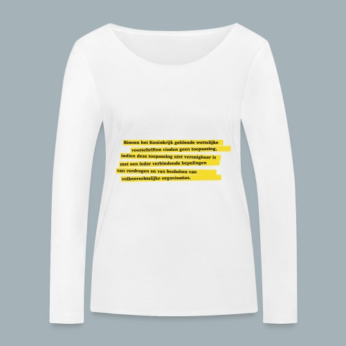Nederlandse Grondwet T-Shirt - Artikel 94 - Vrouwen bio shirt met lange mouwen van Stanley & Stella
