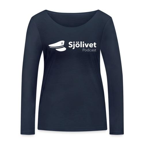 Sjölivet podcast - Vit logotyp - Ekologisk långärmad T-shirt dam från Stanley & Stella
