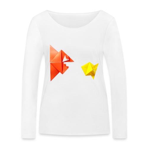 Origami Piranha and Fish - Fish - Pesce - Peixe - Women's Organic Longsleeve Shirt by Stanley & Stella