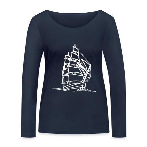 Segelschiff Illustration Meer Schiff Bootsfahrt - Frauen Bio-Langarmshirt von Stanley & Stella
