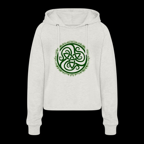 Green Celtic Triknot - Women's Cropped Hoodie
