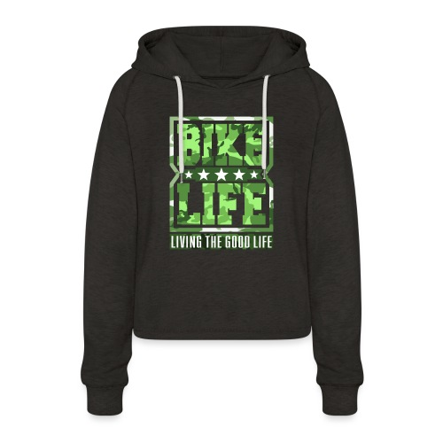 Bikelife Green Camo - Women's Cropped Hoodie