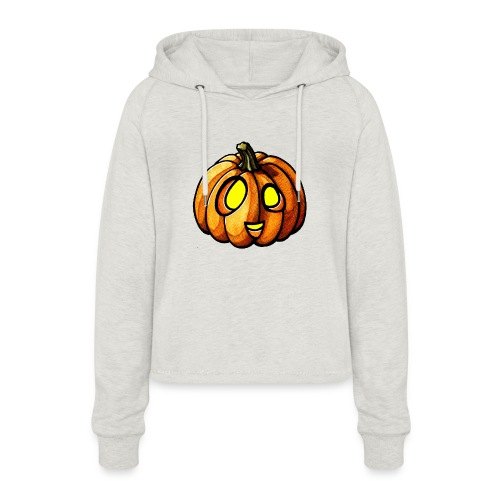 Pumpkin Halloween watercolor scribblesirii - Women's Cropped Hoodie