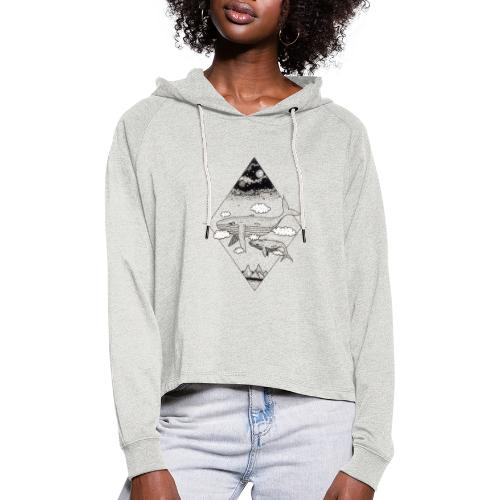 Whale Hello - Cropped hoodie til damer