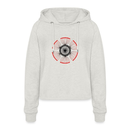 Red Poppy Seeds Mandala - Women's Cropped Hoodie