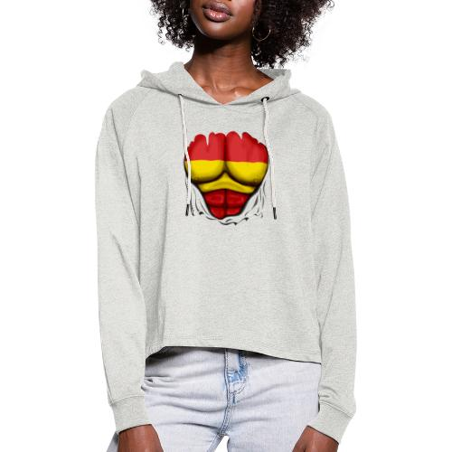 España Flag Ripped Muscles six pack chest t-shirt - Women's Cropped Hoodie