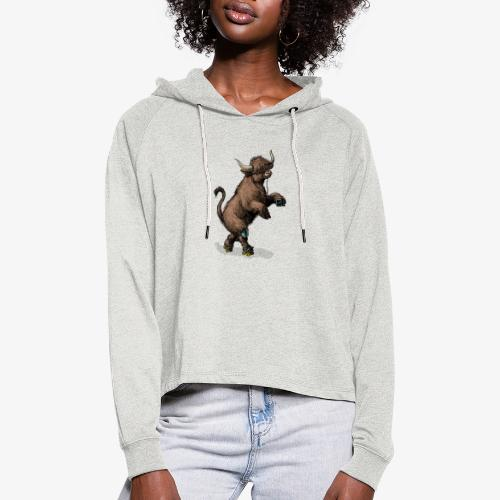 Highland Cow on roller skates - Women's Cropped Hoodie