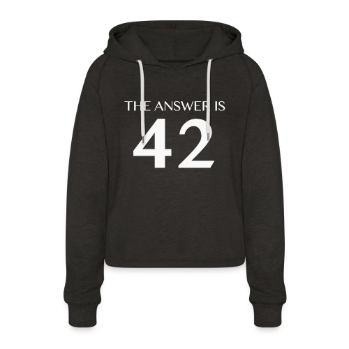 The Answer is 42 White - Women's Cropped Hoodie