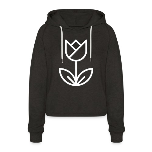 Tulip white png - Women's Cropped Hoodie