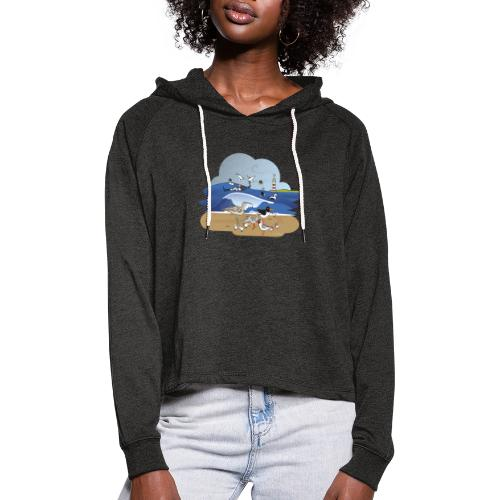See... birds on the shore - Women's Cropped Hoodie